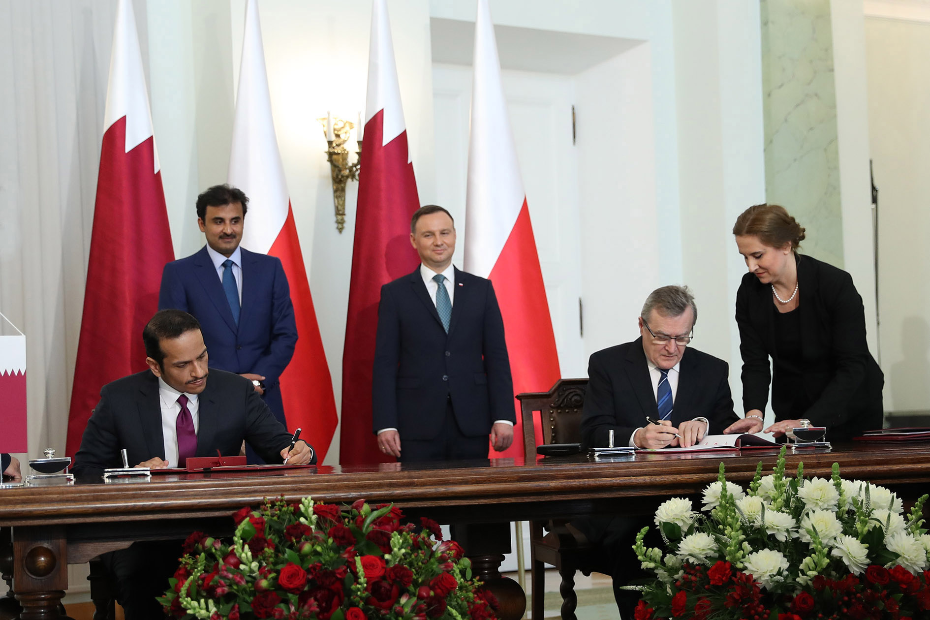 Hh The Amir Poland President Attend Signing Agreements Between The